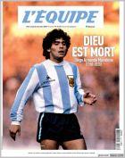 Το πρωτοσέλιδο της Equipe για τον θάνατο του Ντιέγκο Μαραντόνα