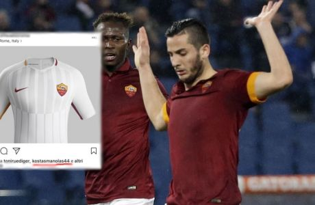 Empoli's Riccardo Saponara, left, is fouled by Roma's Konstantinos Manolas, right, during a Serie A soccer match between Roma and Empoli, at Rome's Olympic Stadium, Saturday, Jan. 31, 2015. (AP Photo/Andrew Medichini)