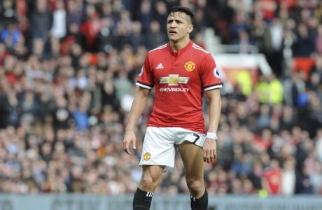 Manchester United's Alexis Sanchez during the English Premier League soccer match between Manchester United and Liverpool at Old Trafford in Manchester, England, Saturday, March 10, 2018. (AP Photo/Rui Vieira)