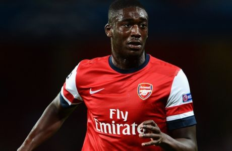 LONDON, ENGLAND - AUGUST 27:  Yaya Sanogo of Arsenal in action during the UEFA Champions League Play Off Second leg match between Arsenal FC and Fenerbahce SK at Emirates Stadium on August 27, 2013 in London, England.  (Photo by Michael Regan/Getty Images)