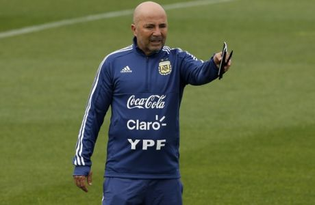 Argentina coach Jorge Sampaoli leads a team training session at the Sports Center FC Barcelona Joan Gamper, in Sant Joan Despi, Spain, Saturday, June 2, 2018. Israel will play against Argentina next Saturday, June 9 in a friendly soccer match. (AP Photo/Manu Fernandez)