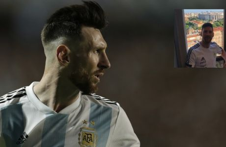 Argentina's Lionel Messi looks back during a friendly soccer match between Argentina and Haiti in Buenos Aires, Argentina, Tuesday, May 29, 2018. (AP Photo/Victor R. Caivano)