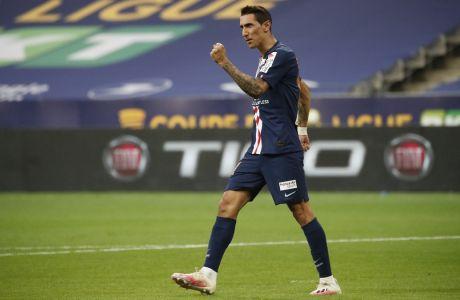 Ο Άνχελ Ντι Μαρία οδήγησε την Παρί Σεν Ζερμέν στη νίκη-πρόκριση επί της Λειψίας στον ημιτελικό του Champions League, καθώς μοίρασε δύο ασίστ και σκόραρε ένα τέρμα στο τελικό 3-0 υπέρ της γαλλικής ομάδας, στις 18 Αυγούστου 2020. (AP Photo/Francois Mori)