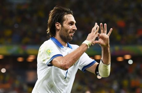 FORTALEZA, BRAZIL - JUNE 24:  Giorgos Samaras of Greece celebrates scoring his team's second goal on a penalty kick during the 2014 FIFA World Cup Brazil Group C match between Greece and the Ivory Coast at Castelao on June 24, 2014 in Fortaleza, Brazil.  (Photo by Laurence Griffiths/Getty Images)