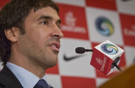 Former Spanish national soccer team captain and former Real Madrid star Raúl González Blanco speaks during a press conference, where he is introduced as the newest member of the New York Cosmos, Tuesday Dec. 9, 2014 in New York.  (AP Photo/Bebeto Matthews)