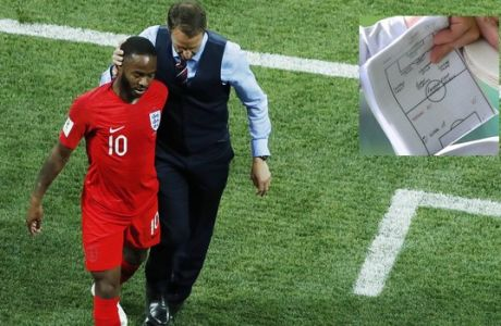 England head coach Gareth Southgate, right, comforts England's Raheem Sterling during the group G match between Tunisia and England at the 2018 soccer World Cup in the Volgograd Arena in Volgograd, Russia, Monday, June 18, 2018. (AP Photo/Rebecca Blackwell)