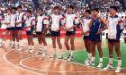Η εθνική Γιουγκοσλαβίας στα ημιτελικά του Ευρωμπάσκετ 1987, πριν από την ήττα της από την Εθνική Ελλάδας στο ΣΕΦ, Δευτέρα 1 Ιουνίου 1987