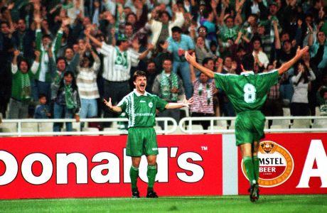 Ο Κριστόφ Βαζέχα πανηγυρίζει γκολ του Παναθηναϊκού επί της Ναντ για τη φάση των ομίλων του Champions League 1995-1996 στο Ολυμπιακό Στάδιο της Αθήνας (27/09/1995)