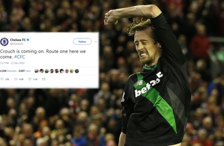Stoke's Peter Crouch reacts after he fails to score a penalty during the English League Cup semifinal second leg soccer match between Liverpool and Stoke City at Anfield stadium in Liverpool, England, Tuesday, Jan. 26, 2016. (AP Photo/Jon Super)