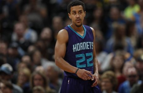 Charlotte Hornets guard Brian Roberts (22) in the first half of an NBA basketball game Saturday, March 4, 2017, in Denver. (AP Photo/David Zalubowski)