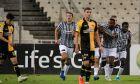 Οι ποδοσφαιριστές του ΠΑΟΚ πανηγυρίζουν γκολ κόντρα στην ΑΕΚ για τη Super League Interwetten 2020-2021 στο Ολυμπιακό Στάδιο | Κυριακή 18 Οκτωβρίου 2020