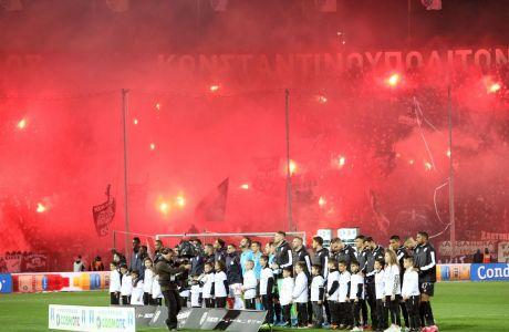 Στιγμιότυπο πριν από την αναμέτρηση του ΠΑΟΚ με τον Ολυμπιακό για τον 1ο ημιτελικό του Κυπέλλου Ελλάδας 2019-2020 στο γήπεδο της Τούμπας, Τετάρτη 4 Μαρτίου 2020