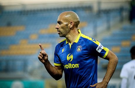 Ο Χερόνιμο Μπαράλες του Αστέρα πανηγυρίζει γκολ που σημείωσε κόντρα στον ΟΦΗ για τη Super League Interwetten 2020-2021 στο 'Θεόδωρος Κολοκοτρώνης' | Κυριακή 25 Οκτωβρίου 2020
