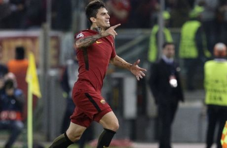Roma's Diego Perotti celebrates after scoring his side's third goal during the Champions League group C soccer match between Roma and Chelsea, at the Olympic stadium in Rome, Tuesday, Oct. 31, 2017. (AP Photo/Andrew Medichini)