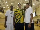 Wake Forest freshmen, from left, Al-Farouq Aminu, Ty Walker, and Tony Woods pose inside the practice gym at the school in Winston-Salem, N.C., Thursday, July 24, 2008. As the anniversary of Prosser's death draws closer, the three members of what became his final recruiting class have arrived on campus, determined to honor the coach they never got to play for. (AP Photo/Chuck Burton)