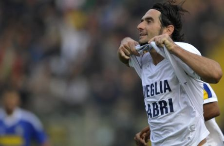 Parma's Alessandro Lucarelli celebrates after scoring during a Serie A soccer match between Parma and Cesena, at Parma's Tardini stadium, Italy, Sunday, Oct. 30, 2011. (AP Photo/Marco Vasini)
