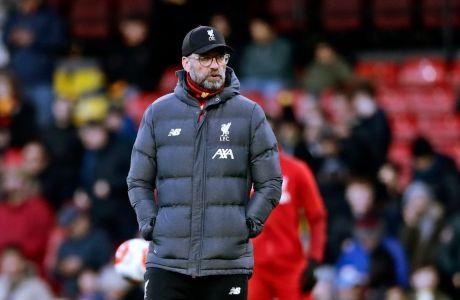 Ο προπονητής της Λίβερπουλ, Γιούργκεν Κλοπ, σε στιγμιότυπο από την αναμέτρηση με Γουόρφορντ για την Premier League 2019-2020 στο 'Βίκαρεϊτζ Ρόουντ', Γουότφορντ, Σάββατο 29 Φεβρουαρίου 2020