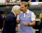 United States head coach Jürgen Klinsmann, right, and Colombia head coach José Pékerman meet prior to the Copa America Centenario third-place soccer match at University of Phoenix Stadium, Saturday, June 25, 2016, in Glendale, Ariz. (AP Photo/Matt York)