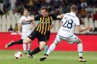 Ο Γιάκομπ Γιόχανσον της ΑΕΚ σε στιγμιότυπο της αναμέτρησης με την Μπριζ για τον 1ο αγώνα των playoffs του Europa League 2017-2018 στο Ολυμπιακό Στάδιο | Πέμπτη 24 Αυγούστου 2017