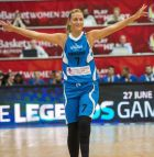 Serbian basketball player Natasa Kovacevic, who survived a bus crash with her team UNI Gyor of Hungary in 2013 and lost her left leg in the incident, waves to the audience during her first appearance on a basketball court at the All Star gala of the Women's Basketball European Championship in Budapest, Hungary, Saturday, June 27, 2015. Natasa Kovacevic is the honour guest of the gala. (Tibor Illyes/MTI via AP)