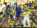 SAO PAULO, BRAZIL - JUNE 12:  (L-R) Singers Jennifer Lopez, Claudia Leitte and Pitbull perform during the Opening Ceremony of the 2014 FIFA World Cup Brazil prior to the Group A match between Brazil and Croatia at Arena de Sao Paulo on June 12, 2014 in Sao Paulo, Brazil.  (Photo by Buda Mendes/Getty Images)