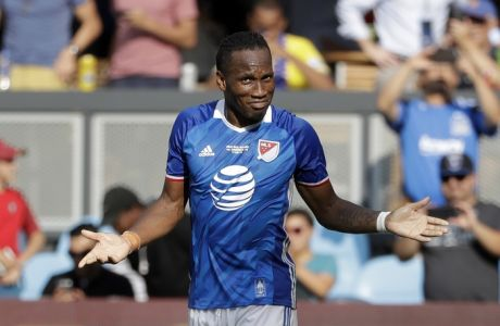 MLS All-Stars forward Didier Drogba, of Montreal Impact, in action against Arsenal in the MLS All-Star soccer game Thursday, July 28, 2016, in San Jose, Calif. (AP Photo/Marcio Jose Sanchez)