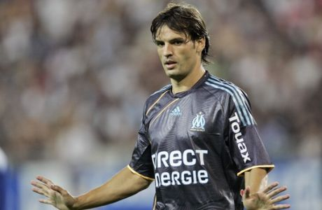 Olympique Marseille's Fernando Morientes reacts during their League One soccer match against Grenoble at Stade des Alpes stadium in Grenoble, French Alps, Saturday Aug. 8, 2009. (AP Photo/Francois Mori)