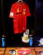 BELO HORIZONTE, BRAZIL - JUNE 17:  The shirt worn by Vincent Kompany of Belgium hangs in the dressing room prior to the 2014 FIFA World Cup Brazil Group H match between Belgium and Algeria at Estadio Mineirao on June 17, 2014 in Belo Horizonte, Brazil.  (Photo by Ryan Pierse - FIFA/FIFA via Getty Images)