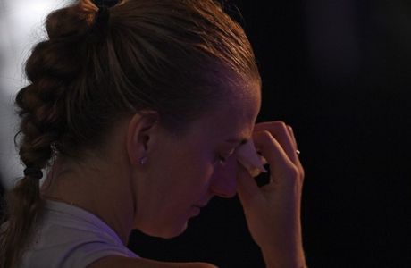 Petra Kvitova of the Czech Republic reacts after losing to Japan's Naomi Osaka in the women's singles final at the Australian Open tennis championships in Melbourne, Australia, Saturday, Jan. 26, 2019. (AP Photo/Andy Brownbill)