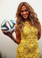 SAO PAULO, BRAZIL - JUNE 12:  Jennifer Lopez poses with the official matchball Brazuca before the 2014 FIFA World Cup Brazil Group A match between Brazil and Croatia at Arena de Sao Paulo on June 12, 2014 in Sao Paulo, Brazil.  (Photo by Alexander Hassenstein - FIFA/FIFA via Getty Images)