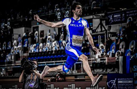 Ο Μίλτος Τεντόγλου πραγματοποιεί το άλμα στα 8.35 που του χάρισε το χρυσό μετάλλιο στο Ευρωπαϊκό πρωτάθλημα κλειστού στίβου στην Πολωνία | 05/03/2021(ΦΩΤΟΓΡΑΦΙΑ: STRINGR / EUROKINISSI)