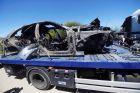 Ό,τι απέμεινε από τη Μερσεντές S550 μετά το δυστύχημα.