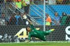 RECIFE, BRAZIL - JUNE 29:  Keylor Navas of Costa Rica saves a penalty kick by Theofanis Gekas of Greece (not pictured) during the 2014 FIFA World Cup Brazil Round of 16 match between Costa Rica and Greece at Arena Pernambuco on June 29, 2014 in Recife, Brazil.  (Photo by Jeff Gross/Getty Images)