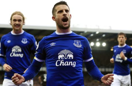 Everton's Kevin Mirallas celebrates scoring against West Bromwich Albion during the English Premier League soccer match at Goodison Park, Liverpool, England, Saturday March 11, 2017. (Peter Byrne/PA via AP)