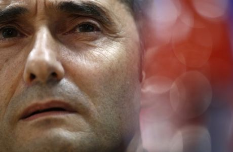 FC Barcelona's coach Ernesto Valverde attends a press conference at the Sports Center FC Barcelona Joan Gamper in Sant Joan Despi, Spain, Tuesday, Oct. 17, 2017. FC Barcelona will play against Olympiacos in a Champions League Group D soccer match on Wednesday. (AP Photo/Manu Fernandez)