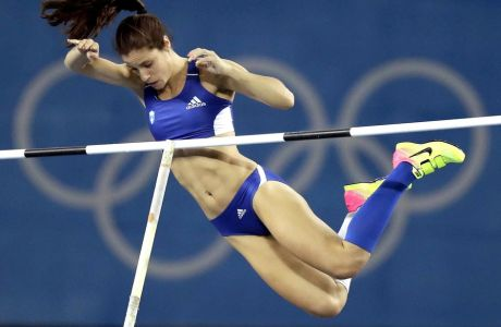 Greece's Ekaterini Stefanidi competes in the women's pole vault final, during the athletics competitions of the 2016 Summer Olympics at the Olympic stadium in Rio de Janeiro, Brazil, Friday, Aug. 19, 2016. (AP Photo/Matt Slocum)