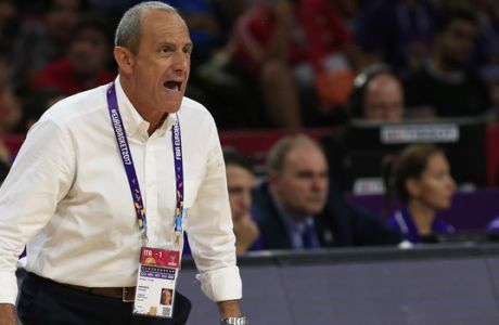 Italy's coach Ettore Messina gives instructions to his players during their Eurobasket European Basketball Championship round of 16 match against Finland in Istanbul, Saturday, Sept. 9. 2017. (AP Photo/Lefteris Pitarakis)