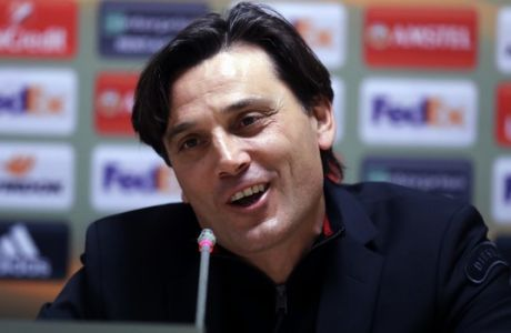 Milan's coach Vincenzo Montella speaks during a press conference in Athens, Wednesday, Nov. 1, 2017. Milan will play AEK Athens in a  Europa League group D soccer match on Thursday. (AP Photo/Thanassis Stavrakis)