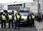 Police are seen outside the stadium before the English Premier League soccer match between Tottenham Hotspur and Arsenal at White Hart Lane in London, Sunday, April 30, 2017. (AP Photo/Alastair Grant)