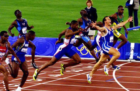 Ο Κώστας Κεντέρης στον τερματισμό του τελικού των 200μ. στο άθλημα του στίβου στους Ολυμπιακούς Αγώνες 2000 στο 'ANZ Stadium', Σίδνεϊ | Πέμπτη 28 Σεπτεμβρίου 2000