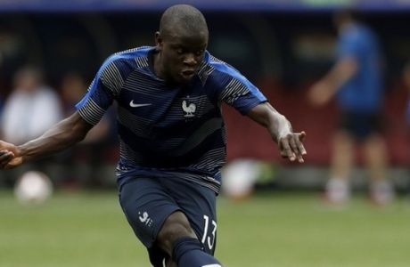 France's Ngolo Kante kicks the ball prior to the final match between France and Croatia at the 2018 soccer World Cup in the Luzhniki Stadium in Moscow, Russia, Sunday, July 15, 2018. (AP Photo/Petr David Josek)