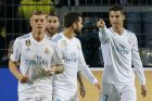 Real Madrid's Cristiano Ronaldo points after scoring his side's second goal during a Champions League Group H soccer match between Borussia Dortmund and Real Madrid at the BVB stadium in Dortmund, Germany, Tuesday, Sept. 26, 2017. (AP Photo/Michael Probst)