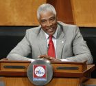 Philadelphia 76ers adviser Julius Iriving sits on stage during the NBA draft lottery in New York, Tuesday, May 20, 2014.  (AP Photo/Kathy Willens)