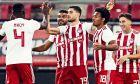 Ο Γιώργος Μασούρας πανηγυρίζει ένα εκ των δύο τερμάτων που πέτυχε στο 4-1 του Ολυμπιακού επί της ΑΕΛ στο 'Γ. Καραϊσκάκης', για την 15η αγ. της Super League (18/12/2019) - ΦΩΤΟΓΡΑΦΙΑ: KLODIAN LATO / EUROKINISSI