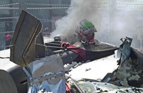 Ένα αυτοκίνητο 'έπιασε' φωτιά, το άλλο καταστράφηκε, με τους οδηγούς να 'χουν Άγιο και να απομακρύνονται, περπατώντας.