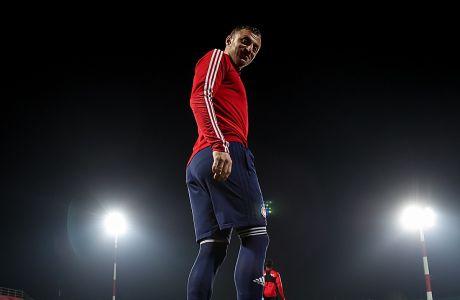 Ο Αβραάμ Παπαδόπουλος του Ολυμπιακού κατά τη διάρκεια προπόνησης στις εγκαταστάσεις στου Ρέντη, Τετάρτη 19 Φεβρουαρίου 2020