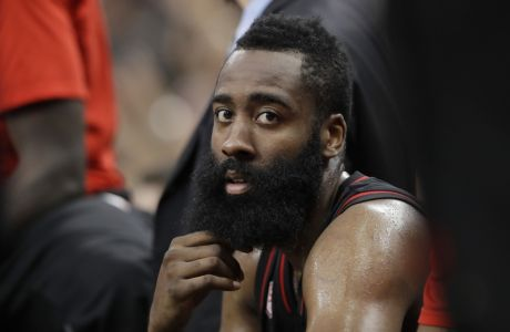 Houston Rockets guard James Harden during the second half of Game 5 in a second-round NBA basketball playoff series against the San Antonio Spurs, Tuesday, May 9, 2017, in San Antonio. (AP Photo/Eric Gay)