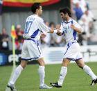 Ο Βασίλης Τσιάρτας περνάει ως αλλαγή στο ματς της Ελλάδας με την Ισπανία στη θέση του Γιώργου Καραγκούνη (16/6/2004)
