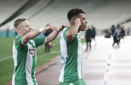 Ο Χουάν Χοσέ Περέα του Παναθηναϊκού πανηγυρίζει το γκολ που σημείωσε κόντρα στη Λαμία για τη Super League 1 2019-2020 στο Ολυμπιακό Στάδιο, Σάββατο 14 Δεκεμβρίου 2019