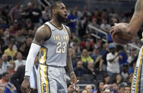 Cleveland Cavaliers forward LeBron James (23) argues with an official during the second half of an NBA basketball game against the Orlando Magic Tuesday, Feb. 6, 2018, in Orlando, Fla. The Magic won 116-98. (AP Photo/Phelan M. Ebenhack)